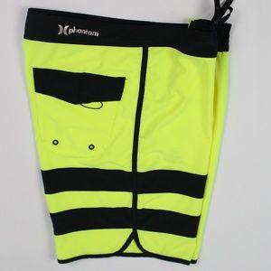 Hurley Phantom neon yellow black board shorts